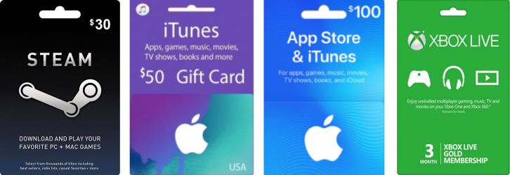 Apple, Steam, Xbox vouchers